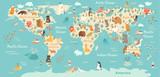 Animals world map. Vector illustration, preschool,  baby,continents, oceans, drawn, Earth.