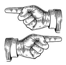 Pointing Finger.  Vector Black...
