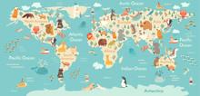 Animals World Map. Vector Illu...