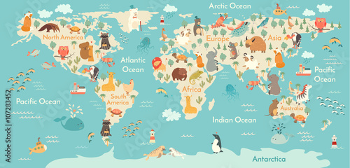 obraz PCV Animals world map. Vector illustration, preschool, baby,continents, oceans, drawn, Earth.