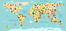 Fruit World Map. And Vegetables. Vector Illustration, Preschool, Baby, Continents, Oceans, Drawn, Earth.