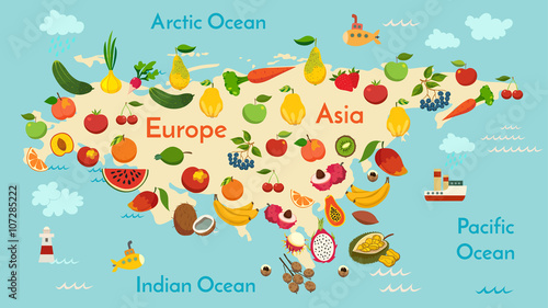 fruit-world-map-eurasia-vector-illustration-preschool-baby-continents-oceans-drawn-earth