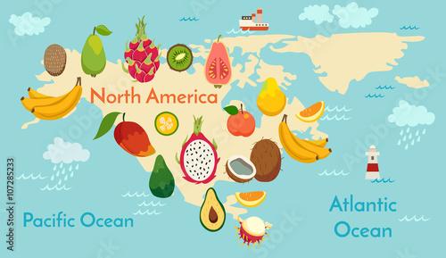 Fototapeta mapa świata z owoców