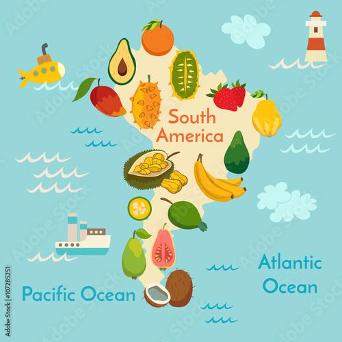 Fototapeta mapa Ameryki południowej