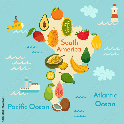Obraz na płótnie mapa Ameryki południowej