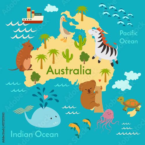 Australia Map Oceans.Animals World Map Australia Vector Illustration Preschool Baby