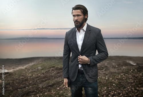 Printed kitchen splashbacks Artist KB Photo of elegant handsome stylish man