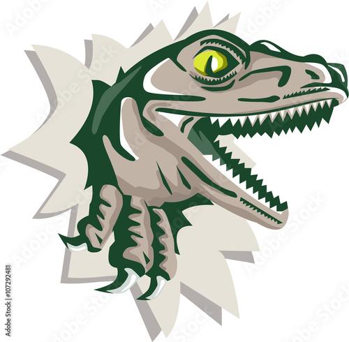 Photo  Raptor Head Breaking Out Wall Retro