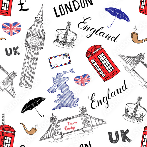 Tuinposter Doodle London city doodles elements seamless pattern. with hand drawn tower bridge, crown, big ben, red bus, UK map, flag,and lettering, vector illustration isolated