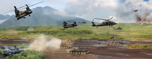Modern Military Battle Scene W...