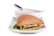 Soup And Triangle Sandwich