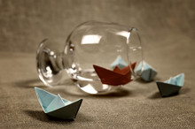Toned Colored Paper Boats Glass