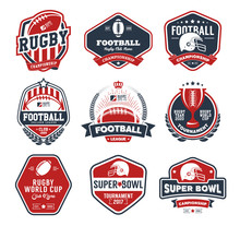 Rugby Logo Vector Colorful Set...