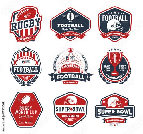 Fotografía  Rugby logo vector colorful set, Football badge logo template