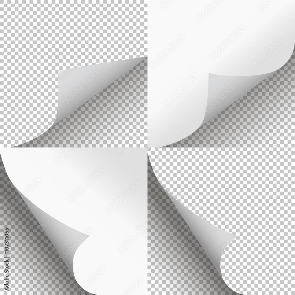 Fototapeta Pages curl set stylish illustration vector design