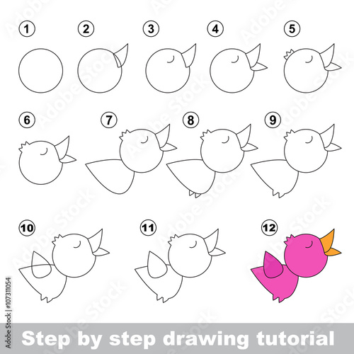 Fotografie, Obraz  Nightingale. Drawing tutorial.