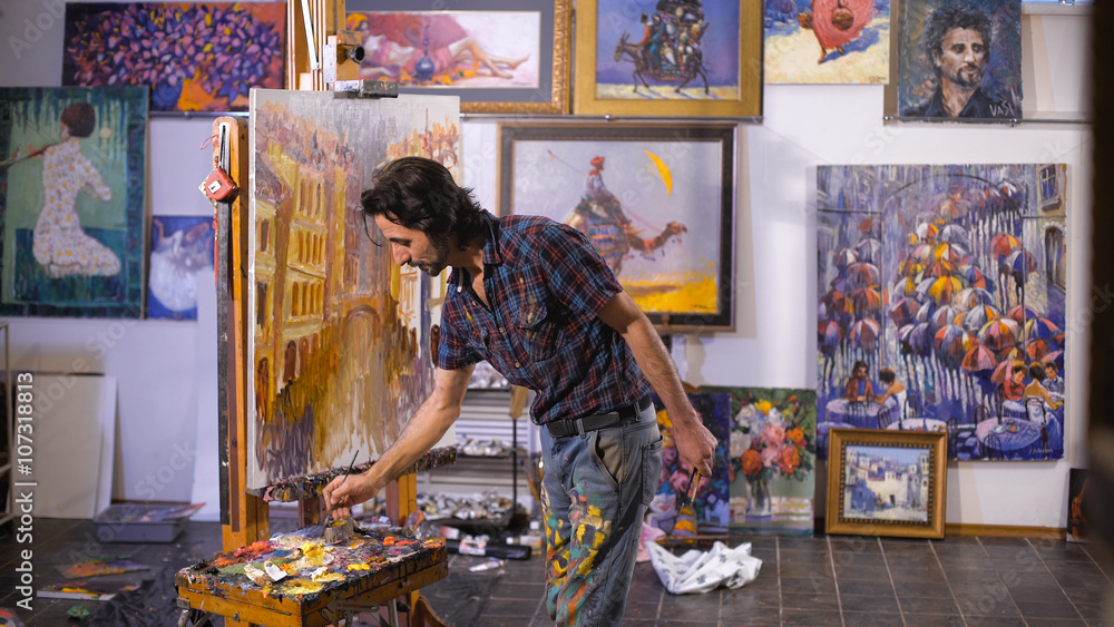 Fototapety, obrazy: Inspiration. Colorful professional artist paints with oil. Workshop