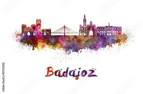 Badajoz skyline in watercolor