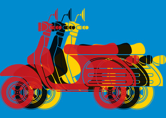 Fototapeta Motor Scooter pop art