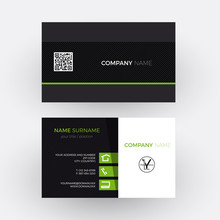 Vector Elegant And Professional Business Card, Green And Black
