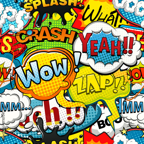 fototapeta na lodówkę Multicolored comics speech bubbles seamless pattern