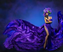Woman Flower Dress Flying Fabr...