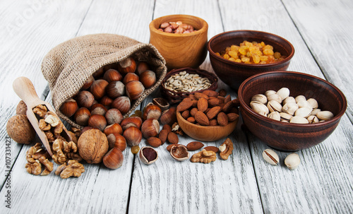obraz PCV different types of nuts