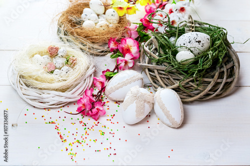 Recess Fitting Spa Beautiful Easter background with flowers and nest with eggs on white painted boards