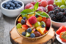 Fruit Salad In A Bamboo Bowl A...