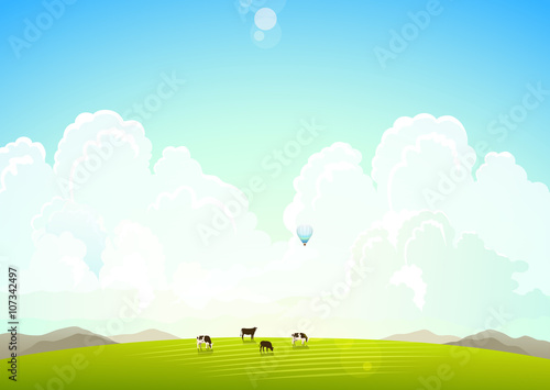 Papiers peints Piscine Landscape illustration with mountains, hills and clouds, cows on a green meadow.