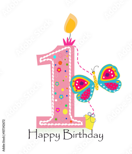 Happy first birthday candle  Baby girl greeting card with