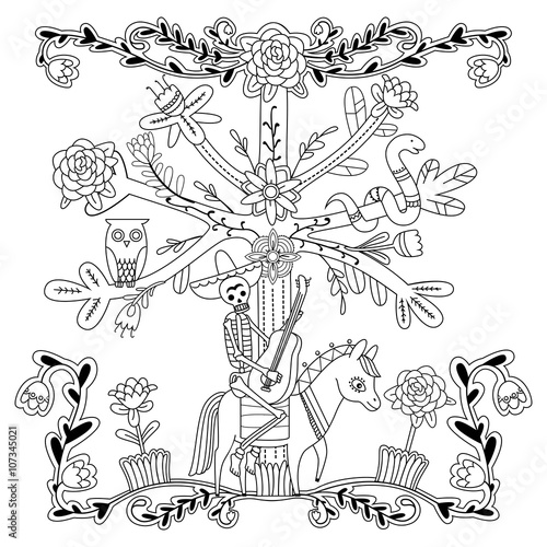 Adult Coloring Page With Flowers Skeleton Horse Tree Owl And Snake