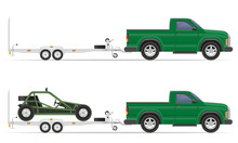 Car Pickup With Trailer Vector...