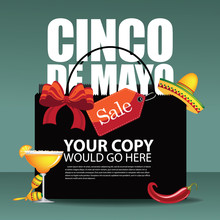 Cinco De Mayo Sale Shopping Bag Ad, Poster, Menu Background.