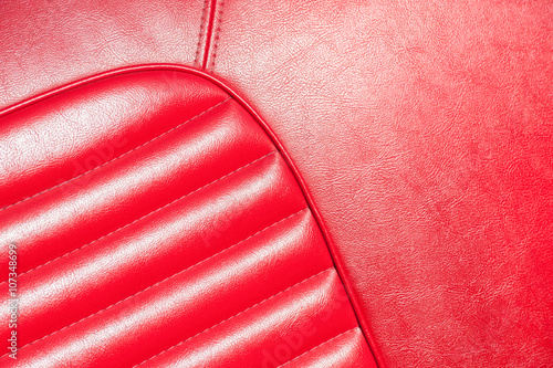 Poster Vintage voitures luxurious red leather vehicle upholstery closeup