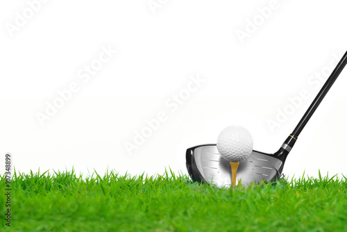 Deurstickers Golf Golf ball on tee in front of driver isolated on white background