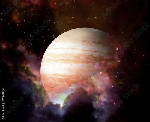 Valokuvatapetti Planet and Nebula - Elements of this image furnished by NASA