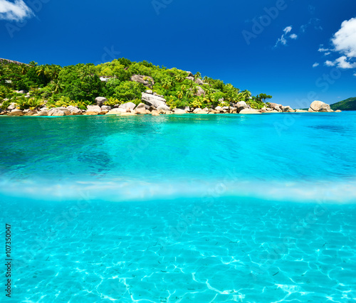 Photo Stands Turquoise Beach with white sand bottom underwater view