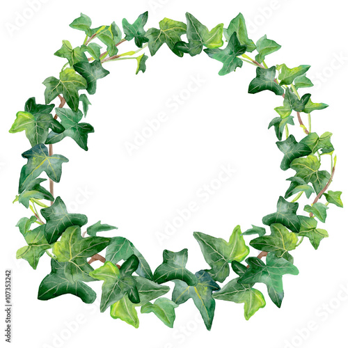 watercolor drawing of green ivy wreath isolated on white background