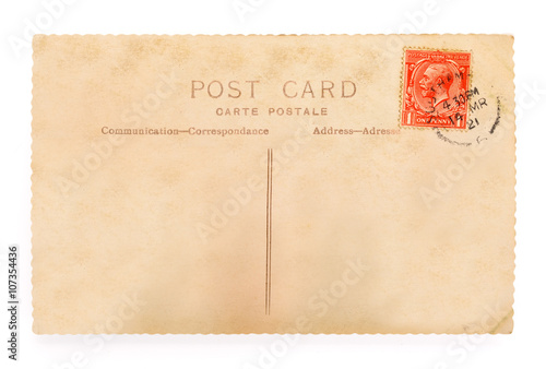 Fotografia  Vintage English postcard on white background with clipping path