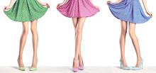 Woman Legs In Fashion Dress An...
