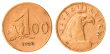 100 Kronen 1924 Coin Isolated On White Background, Austria