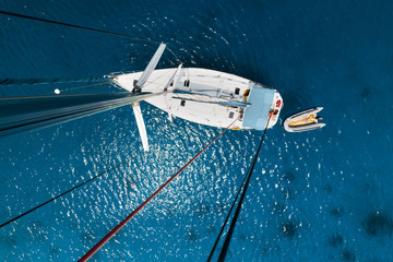 Sailboat viewed from above