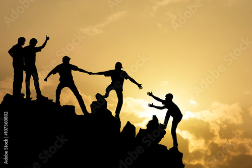 Fotografiet  Group of people on peak mountain  climbing helping team work , s