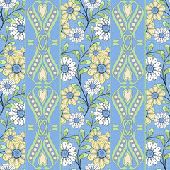 Floral seamless pattern in retro style, cute cartoon flowers light blue background striped