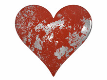Chipped And Scratched Painted Metal Heart