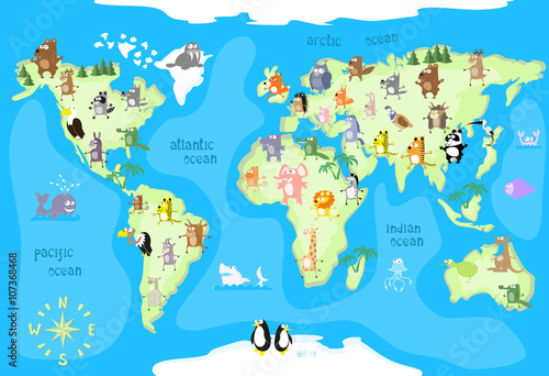 Concept Design World Map With Animals Of All The Continents And