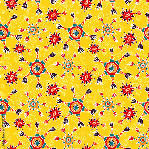 Cotton fabric Seamless background with mexican pinatas