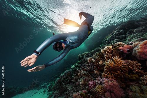 Fotografie, Obraz  Volný potápěč