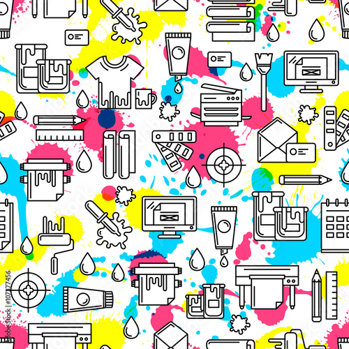 Fotografie, Obraz  Vector seamless pattern with outline printing icons, watercolor blots and splashes